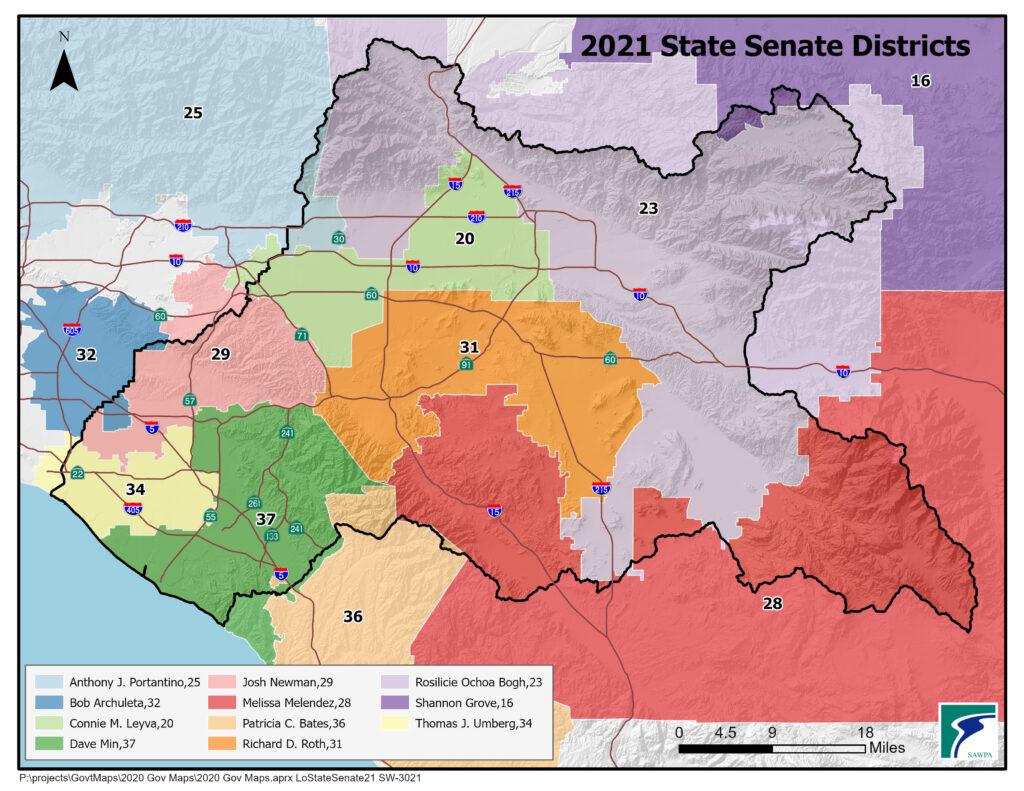 GIS map of California Senate