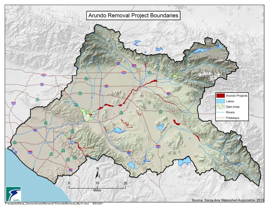 GIS map of Arundo Removal Project Boundaries