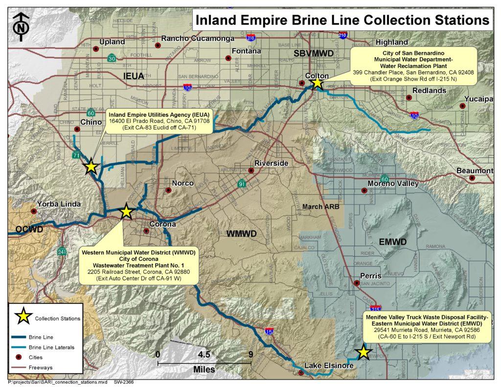 GIS map of Brine Line Dump Stations