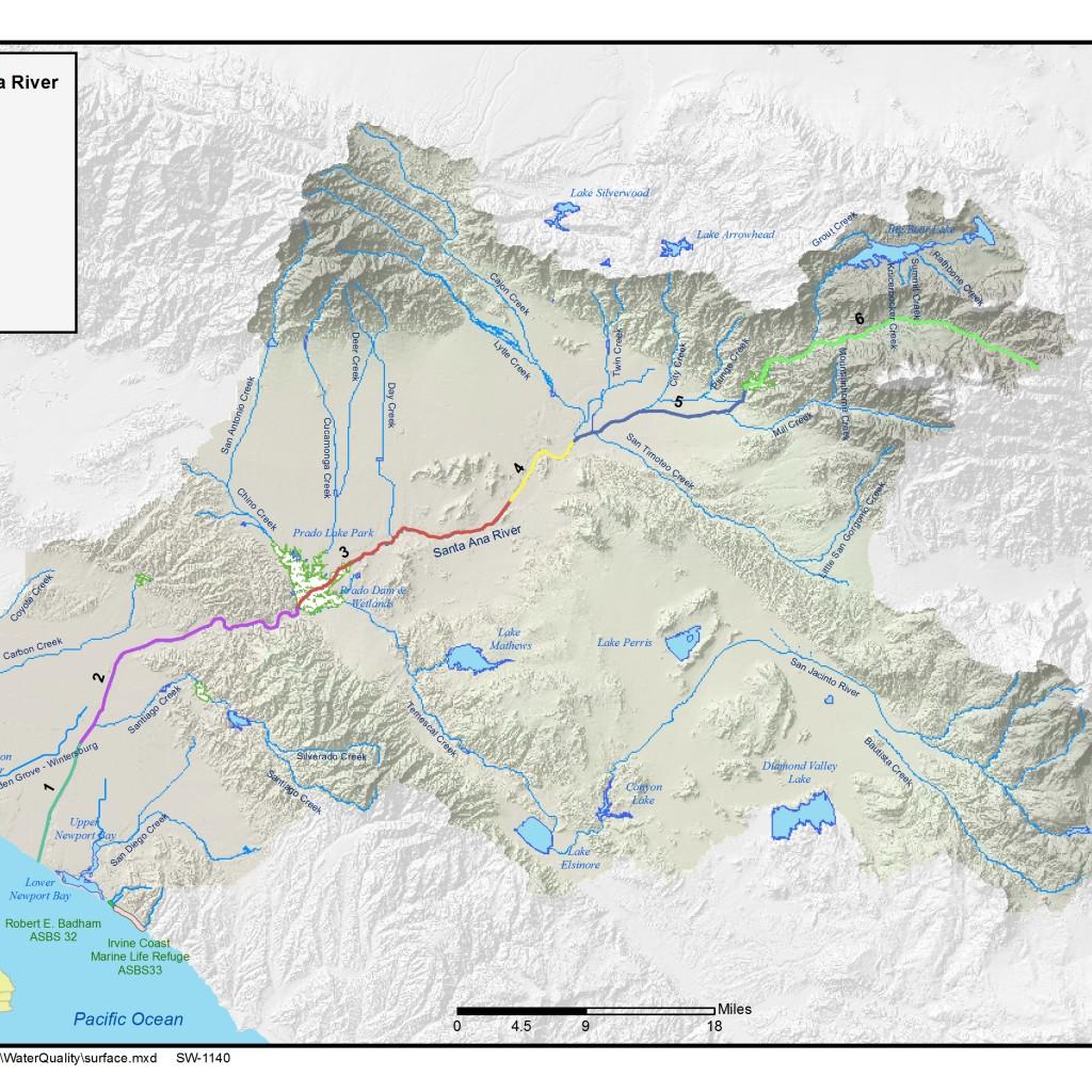 GIS map of Santa Ana River Reaches