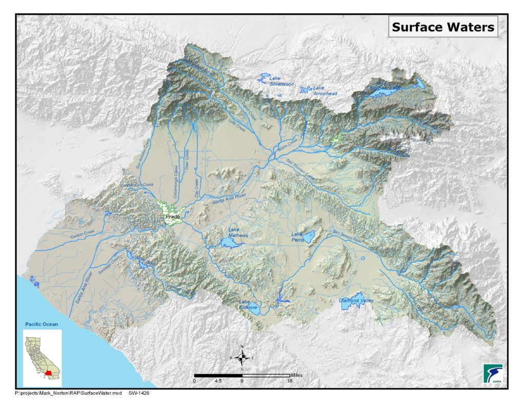 GIS map of Surface Waters (Rivers, Lakes)