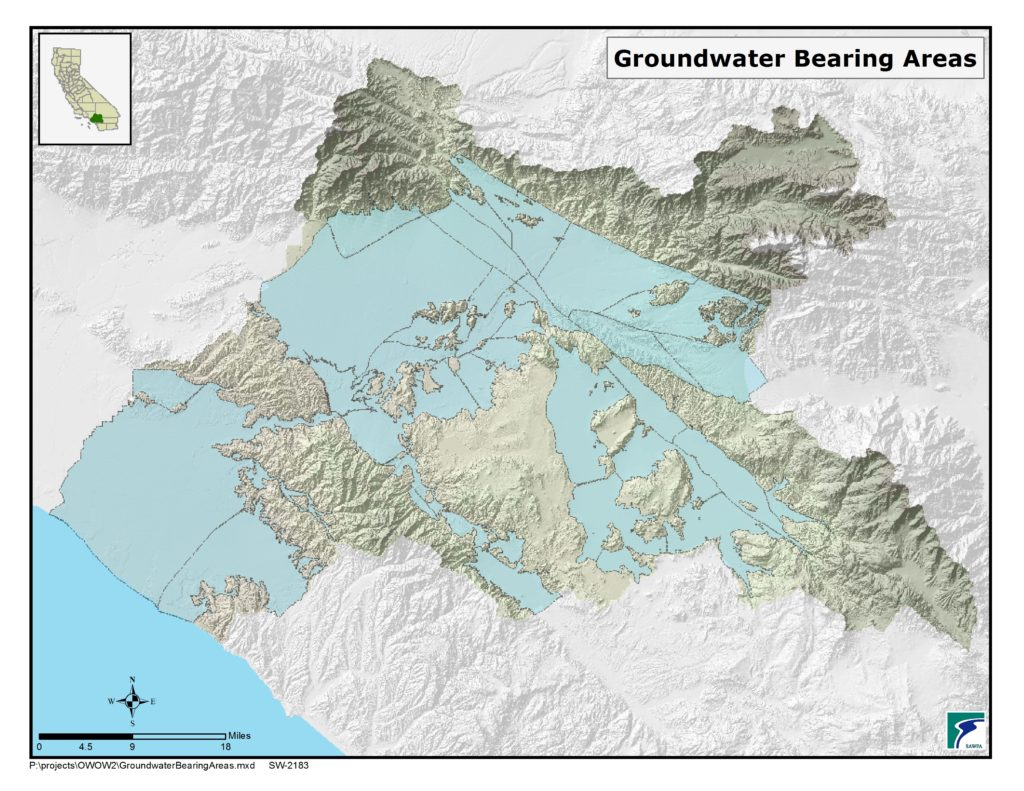 GIS map of Groundwater Bearing Areas