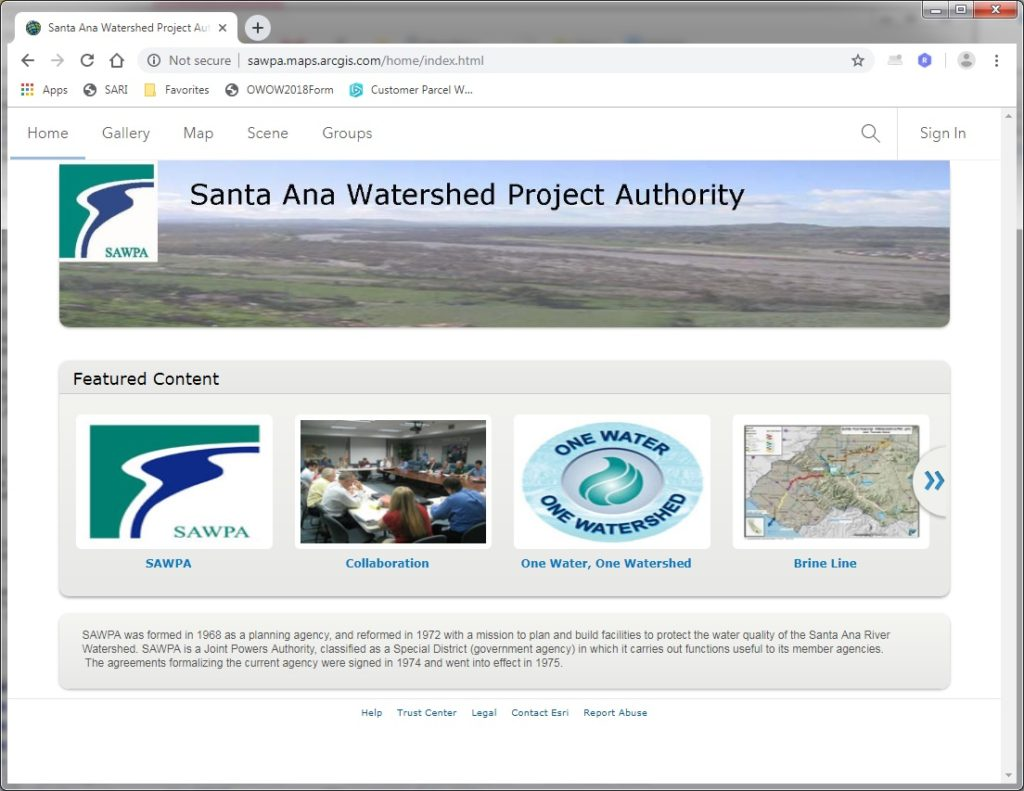 GIS map of SAWPA's ArcGIS Online Website