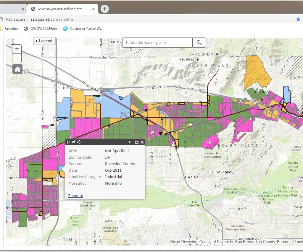 GIS map of Brine Line Mapping Tools