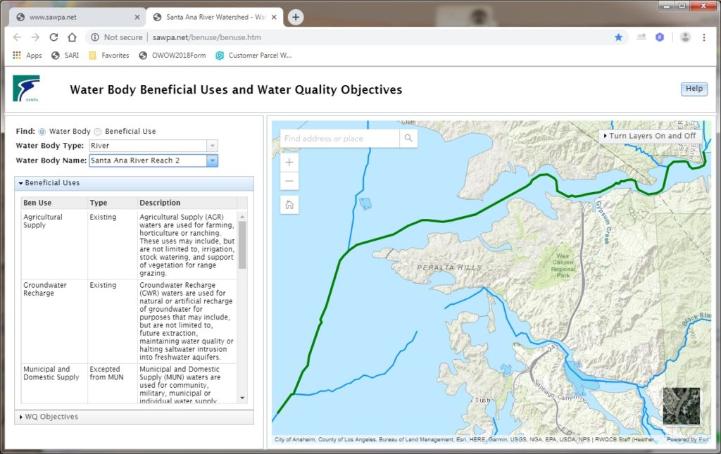 GIS map of Water Body Beneficial Uses