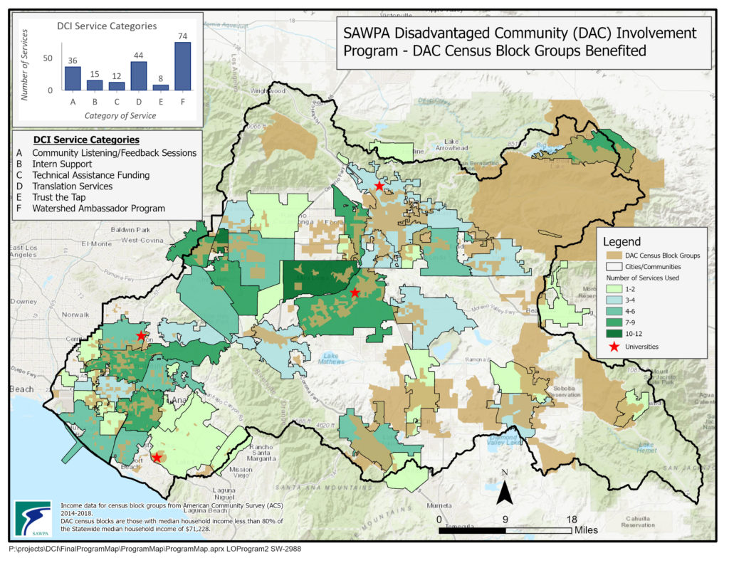 Map of SAWPA Disadvantaged Community (DAC) Involvement Program – DAC Census Block Groups Benefited